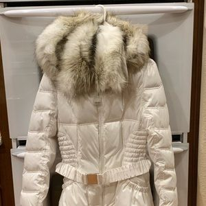 White Down Jacket with Faux Fur Hood NWT